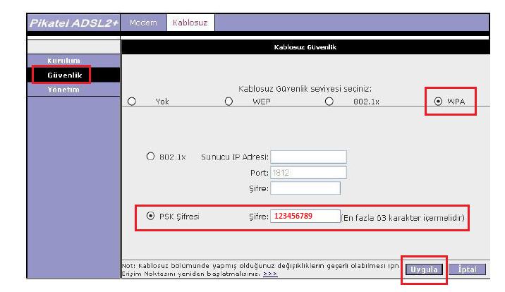 Pikatel Wifi Şifre Degistirme Ekranı