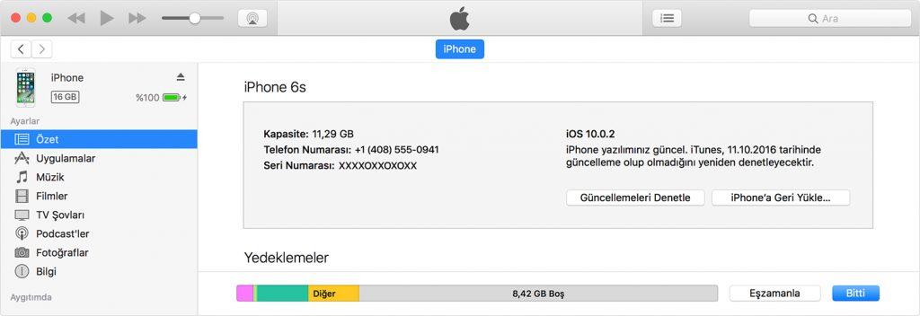 iTunes ile iPhone Güncelleme