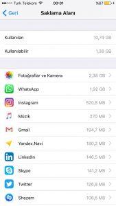 iphone hafıza dolu